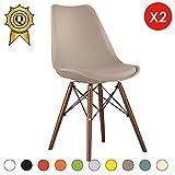 Verkauf 2 x Designer-Stuhl Beine:Holzfarbe Walnut gepolsterter Sitz:Beige Mobistyl®