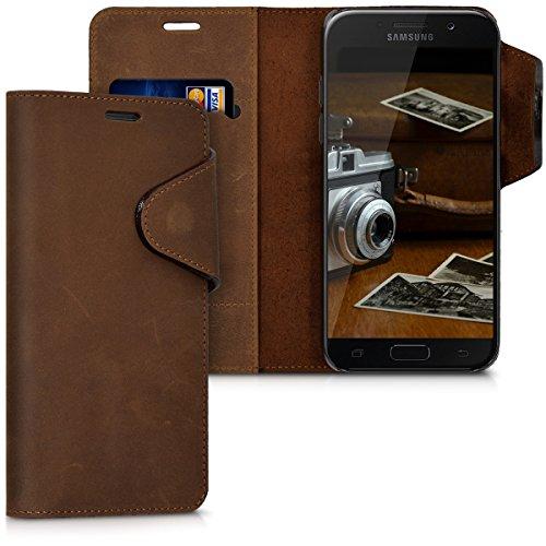kalibri-Echtleder-Wallet-Hlle-fr-Samsung-Galaxy-A5-2017-Case-mit-Fach-und-Stnder-in-Braun