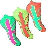 Damen & Mädchen Socken Fluoreszent Neon Union Jack Turnschuhe Socken (3 Paar Multipack)