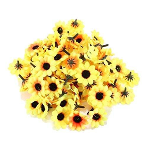 Hochzeit Sonnenblumenkoepfe - TOOGOO (R) 100 Stueck Kuenstliche Seidenblumen Hochzeit nach Hause Sonnenblumenkoepfe Dekor Gelb + Schwarz (Sonnenblumen-blütenblatt Stirnband)