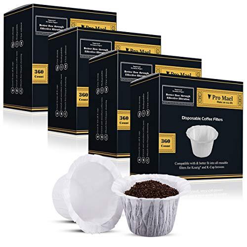 360 Counts, Kaffee-Filterpapier für Keurig Brauer, Single Serve 1.0 und 2.0, Verwendung mit allen Marken, wiederverwendbarer K Cup Filter Medium weiß ()