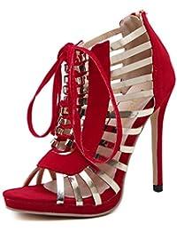 ZYQME Womens Sommer Schuhe Frauen Stiletto Sandalen High Heel Lace Ups Ausgeschnitten Sandalen Peep Toe