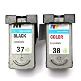#4: Alcoa Prime 2pcs Remanufactured for Canon PG37 CL38 Ink Cartridge for Canon MP210 IP1800 IP1900 IP2500 IP2600 MP140 MP190 MP220 MX300 MX310