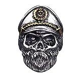 WikiMiu Ringe Herren, Totenkopf Marine Kapitän Design Ring, Cooler Punk Stil Schmuck für Männer mit Geschenkbox