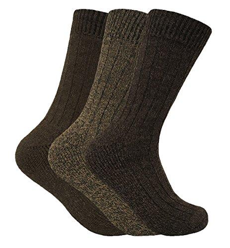 Homme 3 paires laine chaudes anti ampoule respirantes chaussettes pour froid (39-45 eur, WB Brown)