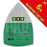 HKB ® 30 Stück Klett-Schleifblätter 105x152 mm je 6 x K40/60/80/120/180, für Multischleifer Bosch PSM 80 A, PSM 100 A, PSM 160 A, PSM 200 AGE, Prio, Ventaro, Skil Octo 7208 Artikel-Nr. 81696