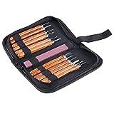 Hamhsin 12Holz Hand Meißel Werkzeug Set mit Canvas Tasche für–Holz Griff Meißel Holz-Werkzeug-Set.