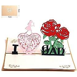 Vatertagskarte, Deesos Geburtstagskarte Geschenk für Papa Special, 3D Pop-Up-Grußkarte mit schönen Papier-Cut, beste Geschenk für Papa Geburtstag oder Jubiläum, Umschlag enthalten (ich liebe Papa)