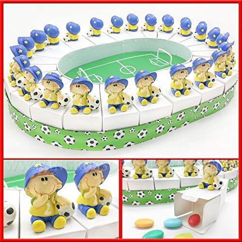 Ingrosso e risparmio struttura torta bomboniere a forma di stadio con 24 fette portaconfetti e statuina bimbo calciatore, idee bomboniere comunione maschio (con confetti celesti)