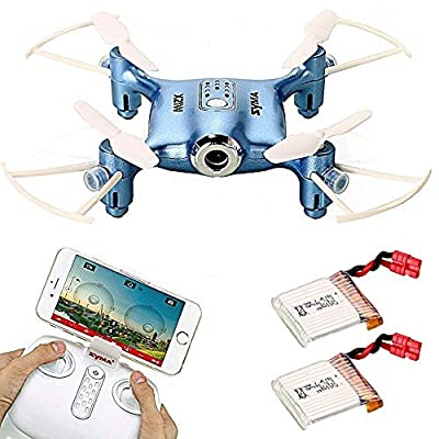 Syma X21W WIFI FPV Mini Drone with Extra 2 pcs Batteries 2.4GHz 4CH 6-axis Camera Live Video LED Nano Pocket 360-degree Rotation RC Quadcopter With Gyro App Control