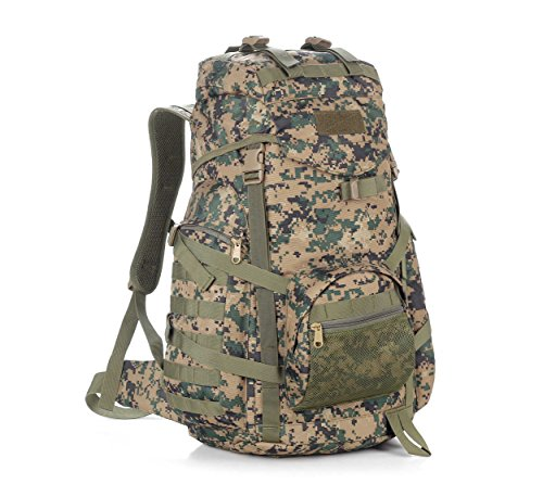 GOUQIN Outdoor Rucksack Klassische Mode Outdoor Tour Klettern Taschen Wandern Taktische Angriffe 60 L Paket Reisetasche Dschungel