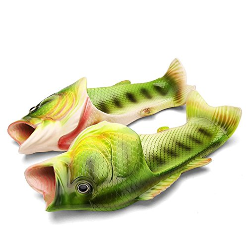 Super Lee Unisex Hausschuhe Lustige Strand Badeschuhe Sommer Ultraleicht Rutschfeste Fisch Pantoffeln Schuhe für Damen Herren Gr.30-44