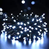 BrizLabs 100 LED Batterie Lichterkette Außen KaltweißWeihnachtsbeleuchtung Innen Lichter8 Modi Wasserdicht mit Timer für Weihnachtsbaum Zimmer Hochzeit Party Garten Dekoration,Grünes Kabel