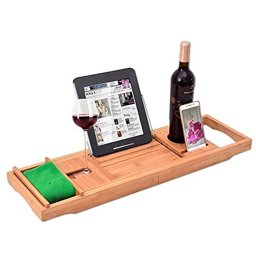 Beelee Premium 100%, natürlichen Bambus Bad Caddy Bridge - ausziehbar Luxus Book Rest, Wein Glas Halter, Gerät (Tablet, Kindle, iPad, Smart Phone)