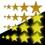 Tuqiang Sternform Reflektierendes Klebeband Wasserdicht Selbstklebend Für Rollstuhl Gehstock Schuhe Hohe Sichtbarkeit Band Sicherheit im Freien Reflektierend Aufkleber 25 Stück Gelb