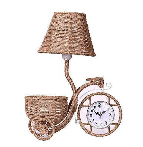Pastoral Weben Lampe Startseite Dekorative Beleuchtung Hochzeit Ideen Vintage-Rattan-Lampe Band Uhren