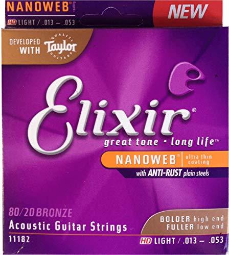 Elixir 11182 Acoustic Guitar Strings (6-String, Medium Nanoweb Coating, HD-Leicht)