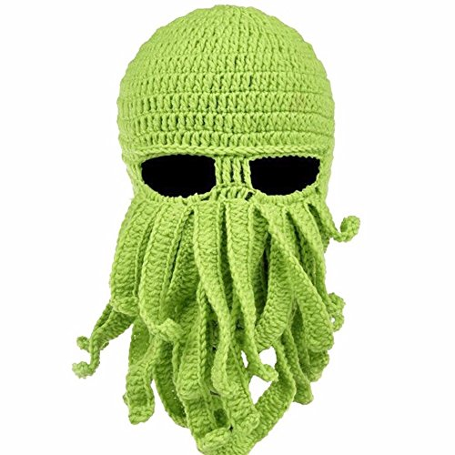 FEESHOW Unisex Damen Herren Tintenfisch Squid gestrickte Mütze Cthulu Octopus Beanie Hat Strickmützen Winter Kraken-Shaped Grün One (Jones Davy Kostüm)