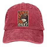 Rana Divertida Unisex para Hombre y Mujer Obey Hypnotoad Gorra de béisbol Ajustable de algodón Lavado Fresco Gorras Negro
