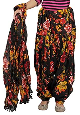 Rama Women's Cotton Floral Printed Patiala (Black, Free Size)