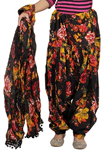 Rama Women\'s Cotton Floral Printed Patiala (Black, Free Size)