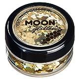 Holographischer grober Glitzer von Moon Glitter - 100% kosmetische Glitzer für Gesicht, Körper, Nägel, Haare und Lippen - 3g - Gold