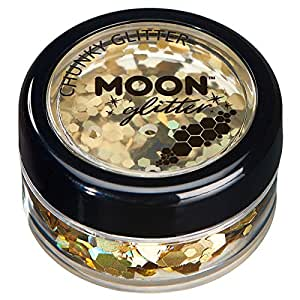 Holographic Chunky Glitter by Moon Glitter – 100% Cosmetic Glitter for Face, Body, Nails, Hair and Lips - 3g - Gold