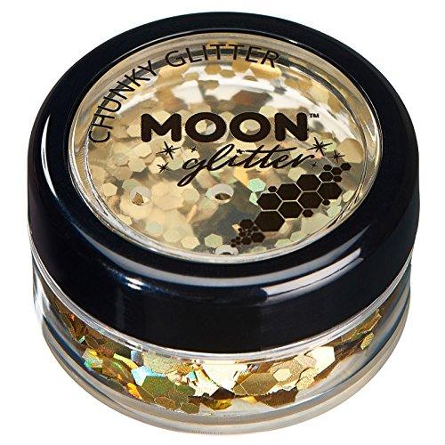 Paillettes holographiques rondes par Moon Glitter (Paillette Lune) - 100% de paillettes cosmétique pour le visage, le corps, les ongles, les cheveux et les lèvres - 3g - Or
