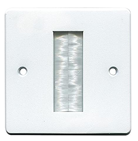 pro signal Brush Stripe Cable Entry Single Gang Wall Face Plate - White