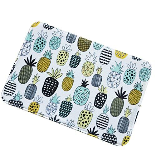 CHENGYANG Ananas-Muster Küchenmatte Anti-Rutsch Home Küche Saugfähige Matte Fußmatte Fußabtreter (Weiß, 40 * 60cm)