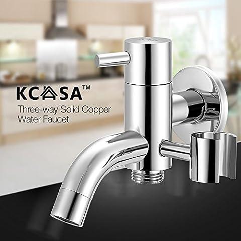 Paleo KCASA™ trampa de agua de latón nocaut tres vías spray de limpieza de ducha grifo de agua válvula de ángulo