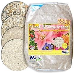 25kg Pflanzsand kalkfreier, keimfreier & nährstoffreier Quarzsand zur Anzucht und Pflanzen - Pflege (0.3-0.6mm)