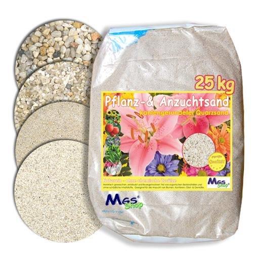 MGS SHOP 25kg Pflanzsand kalkfreier, keimfreier & nährstoffreier Quarzsand zur Anzucht und Pflanzen - Pflege (0.3-0.6mm)