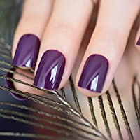 EchiQ Dark Violet False Fake Nail Tips Deep Purple Acrylic UV Nails Art Decoration Round Square Manicure Salon Tools