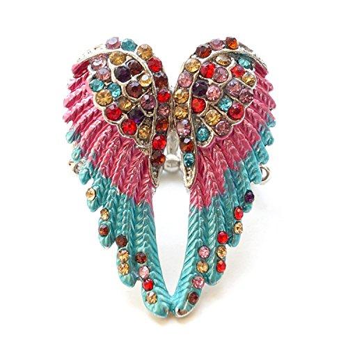 timando–Anillo de mujer de diseño de ángel alas con brillantes rosa, turquesa plata de colores–Anillo tamaño elástica
