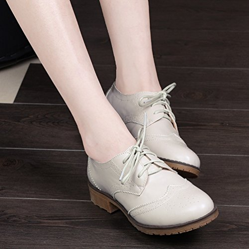 Yiiquan Femme Loisirs Rétro Chaussures Derby Brogues Plat Bout Rond Classique Lacets Chaussures Beige