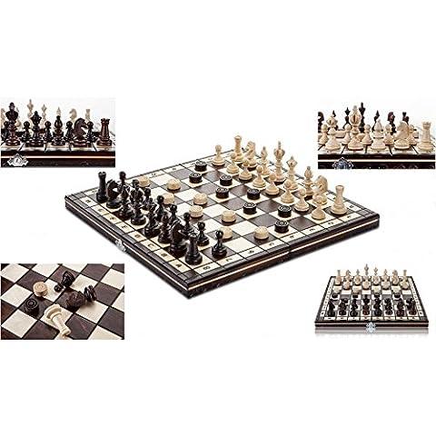 OLÍMPICA DAMAS-35 cm/14 pulgadas de ajedrez de madera artesanal con damas