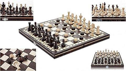 Tirants d'EAU OLYMPIQUE - 35cm/14 in jeu d'échecs en bois avec pions à la main