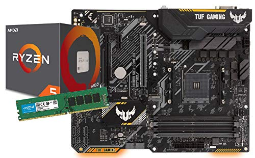 SNOGARD Aufrüst-Kit AMD Ryzen 5 2600+ASUS TUF B450-PLUS Gaming+8GB DDR4 / Desktop Computer Mainboard Bundle/Aufrüstset / PC Tuning Set