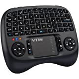 VicTsing Mini Teclado 2.4GHz Inalámbrico con Touchpad Sensible, 73 Teclas QWERTY, Retroiluminación LED, 800mA Batería Litio Recargable - Negro