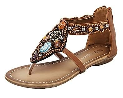 Qitun Damen Roman Flache Zehentrenner Strand Sandale Casual Peep-Toe Sommer Schuhe Weiß EU 35 Z9uAU