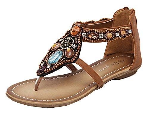 Qitun Femmes de Été Bohême Plage Sandales Tongs Chaussures Faux Diamant Plat Flip Flops