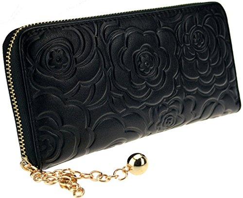 PULABO lunga da donna, cerniera a portafoglio con porta carte, chiusura a Clip per banconote-Organizer per borsa, blu (Blu) - ZSLBG011-Blue nero