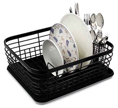 Fregadero mediano Esylife, para la cocina, escurreplatos con bandeja de goteoy cesta de malla completa para cubiertos