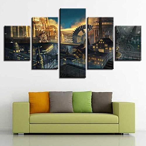 Ssckll Malerei Modulare Kunstwerk 5 Stücke Hd Gedruckt Gebäude Und Zahnrad Landschaft Leinwandbilder Wandkunst Dekor Wohnzimmer-Rahmen -