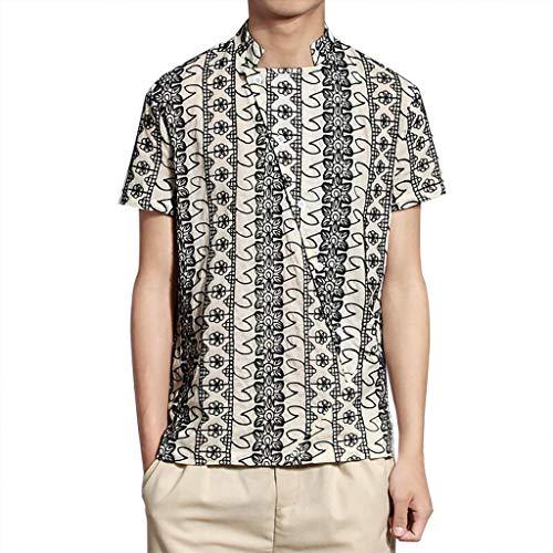 Herren Pullover im Chinesischen Stil Shirt Herren Freizeithemden Herren Kurzarm Hemd Herren Leinen Shirt -