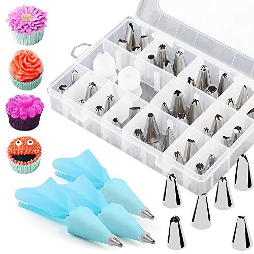 ipow 40 Edelstahl Spritztüllen + 3 Silikon Spritzbeutel + 2 Adapter, Klassische Backset für Deko DIY von Torten Kuchen etc.