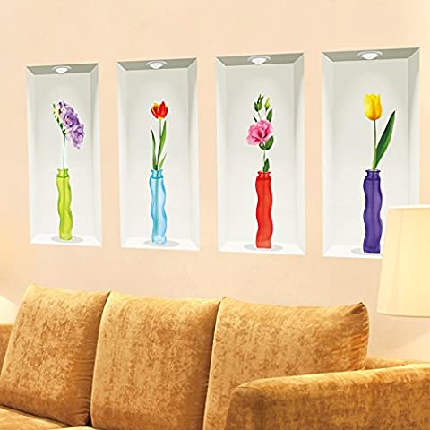 3D stereo vases wall sticker animation living room decorated bedroom walls emulation flower self-adhesive creative wall flower