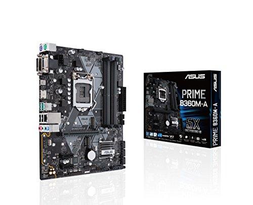 Asus PRIME B360M-A Scheda Madre, Chipset Intel B360, Supporto Processori Intel 8 Generazione, LGA1151, MicroATX, Nero