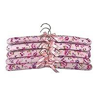 Pack of 5 Soft Padded Cushion Coat Cloth Hook Closet Suit Hangers Hanger None Slip 40cm (04-Pink/Purple Flower Padded Hangers))